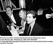Brett Easton Ellis, Candace Bushnell and Jay McInerney. Party at the Bowery Bar. Manhattan. 1995. Film 95476f25<br /> © Copyright Photograph by Dafydd Jones<br /> 66 Stockwell Park Rd. London SW9 0DA<br /> Tel 0171 733 0108