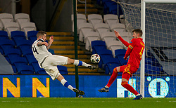 CARDIFF, WALES - Wednesday, November 18, 2020: Finland's Joona Toivio shoots wide during the UEFA Nations League Group Stage League B Group 4 match between Wales and Finland at the Cardiff City Stadium. Wales won 3-1 and finished top of Group 4, winning promotion to League A. (Pic by David Rawcliffe/Propaganda)