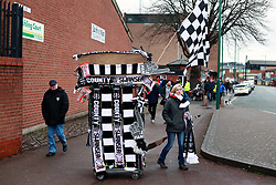 Half and half scarves for sale outside the ground before the Emirates FA Cup, fourth round match at Meadow Lane, Nottingham.