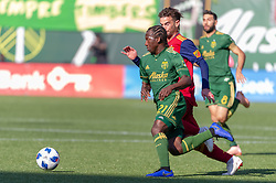 October 21, 2018 - Portland, OR, U.S. - PORTLAND, OR - OCTOBER 21, 2018: Portland Timbers midfielder Diego Chara and Real Salt Lake midfielder Kyle Beckerman fight for possesion during the Portland Timbers 3-0 victory over Real Salt lake on October 21, 2018, at Providence Park in Portland, Oregon. (Photo by Diego Diaz/Icon Sportswire) (Credit Image: © Diego Diaz/Icon SMI via ZUMA Press)