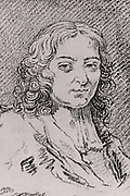 Pierre Bayle (1647-1706) French philosopher, sceptic and writer.   Engraving from 'Histoire des Philosophes Modernes' by Alexandre Saverien (Paris, 1762).