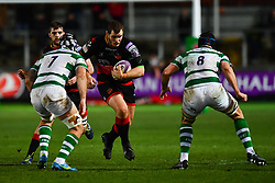 Dragons' Sam Hobbs in action during todays match<br /> <br /> Photographer Craig Thomas/Replay Images<br /> <br /> EPCR Champions Cup Round 3 - Newport Gwent Dragons v Newcastle Falcons - Saturday 15th December 2017 - Rodney Parade - Newport<br /> <br /> World Copyright © 2017 Replay Images. All rights reserved. info@replayimages.co.uk - www.replayimages.co.uk