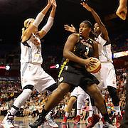 Courtney Paris, Tulsa Shock, defended by Katie Douglas, Connecticut Sun, during the Connecticut Sun Vs Tulsa Shock WNBA regular season game at Mohegan Sun Arena, Uncasville, Connecticut, USA. 3rd July 2014. Photo Tim Clayton