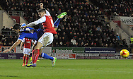 Alex Revell of Rotherham United challanges Eric Lichaj of  Nottingham Forest during the Sky Bet Championship match at the New York Stadium, Rotherham<br /> Picture by Graham Crowther/Focus Images Ltd +44 7763 140036<br /> 13/12/2014