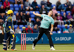 Surrey's Morne Morkel bowls to Glamorgan's David Lloyd<br /> <br /> Photographer Simon King/Replay Images<br /> <br /> Vitality Blast T20 - Round 14 - Glamorgan v Surrey - Friday 17th August 2018 - Sophia Gardens - Cardiff<br /> <br /> World Copyright © Replay Images . All rights reserved. info@replayimages.co.uk - http://replayimages.co.uk