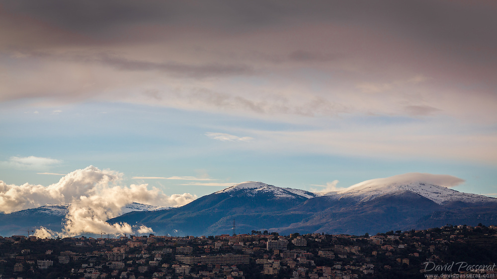 Late evening clouds caress the mountains North of Cagnes-sur-Mer.