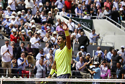 May 27, 2019 - Paris, France - Rafael Nadal of Spain celebrates after his victory in the man's singles first round of the French Open tennis tournament against Yannick Hanfmann of Germany at Roland Garros in Paris, France on May 27, 2019. (Credit Image: © Ibrahim Ezzat/NurPhoto via ZUMA Press)