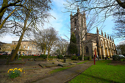 General view of the churchyard ahead of the funeral service for Gordon Banks at Stoke Minster.