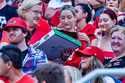 NORMAL, IL - October 02: Fans enjoy a pizza give-away promotion during a college football game between the Bears of Missouri State and the ISU (Illinois State University) Redbirds on October 02 2021 at Hancock Stadium in Normal, IL. (Photo by Alan Look)