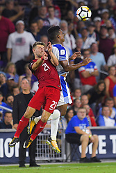 October 6, 2017 - Orlando, Florida, USA - United States midfielder Paul Arriola (21) and Panama midfielder Armando Cooper (11) go airborne for a ball during a World Cup qualifying game at Orlando City Stadium on Oct. 6, 2017 in Orlando, Florida.  The US won 4-0....Zuma Press/Scott Miller (Credit Image: © Scott A. Miller via ZUMA Wire)