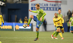 March 1, 2018 - Seattle, Washington, U.S - Soccer 2018: CHAD MARSHALL (14) of the Seattle Sounders in action as Santa Tecla FC visits the Seattle Sounders for a CONCACAF match at Century Link Field in Seattle, WA. (Credit Image: © Jeff Halstead via ZUMA Wire)
