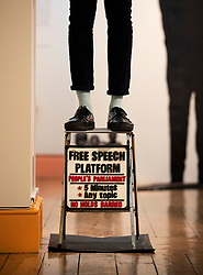 © Licensed to London News Pictures. 11/06/2019. London, UK. Ishmahil Blagrove Jr.'s 'Free Speech Platform, 2015' is displayed at the 'Get Up, Stand Up Now: Generations of Black Creative Pioneers' exhibition at Somerset House, London. This major new exhibition celebrates the past 50 years of Black creativity in Britain and beyond. Beginning with the radical Black filmmaker Horace Ové and his dynamic circle of Windrush generation creative peers and extending to today's brilliant young Black talent globally, a group of around 100 interdisciplinary artists are showcasing their work together for the first time, exploring Black experience and influence, from the post-war era to the present day. The exhibition opens on June 12, 2019 and runs until September 15, 2019.  Photo credit: Peter Macdiarmid/LNP