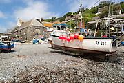Fishing boats on beach, Cadgwith, Lizard peninsula, Cornwall, England, UK