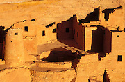 Evening light on detail of Cliff Palace Ruin, Mesa Verde National Park (World Heritage Site), Colorado USA