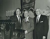 1963 (L to R) Art Linkletter, Harold Kurt & C.E. Toberman at a Rotary Club luncheon