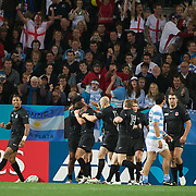 England Halfback Ben Youngs is congratulated by team mates after scoring his side only try of the match during the England V Argentina, Pool B match during the Rugby World Cup in Dunedin, New Zealand,. 10th September 2011. Photo Tim Clayton