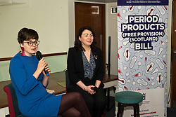 Pictured: YWCA Scotland Director, Patrycja Kupiec and  Monica Lennon<br /> <br /> Labour health spokeswoman Monica Lennon will formally lodge her period poverty Member's Bill to help make Scotland a world leader for period poverty. Ms Lennon was joined by members from CoSLA, Comminication Workers Union, representatives from YWCA,  girl guides, local and national politicians in Edinburgh before her Bill was laid before the Scottish Parliament<br /> <br /> Ger Harley   EEm 24 April 2019