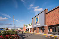 Architectural exterior image of Bel AIr Plaza Shopping Center in Bel Air Maryland by Jeffrey Sauers of Commercial Photographics