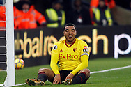 Troy Deeney of Watford laughs off a missed chance to score. Premier League match, Crystal Palace v Watford at Selhurst Park in London on Tuesday 12th December 2017. pic by Steffan Bowen, Andrew Orchard sports photography.