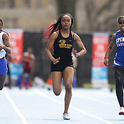 Paige Thompson-Charles, (centre), Middle College, winning the Girls 100m during the 2013 NYC Mayor's Cup Outdoor Track and Field Championships at Icahn Stadium, Randall's Island, New York USA.13th April 2013 Photo Tim Clayton