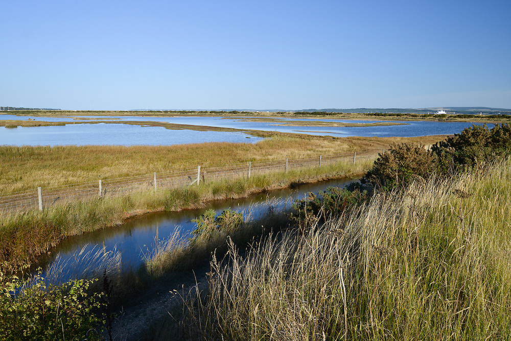 Coastal lagoons and saltmarsh at Pennington Nature Reserve on the Hampshire coast, UK