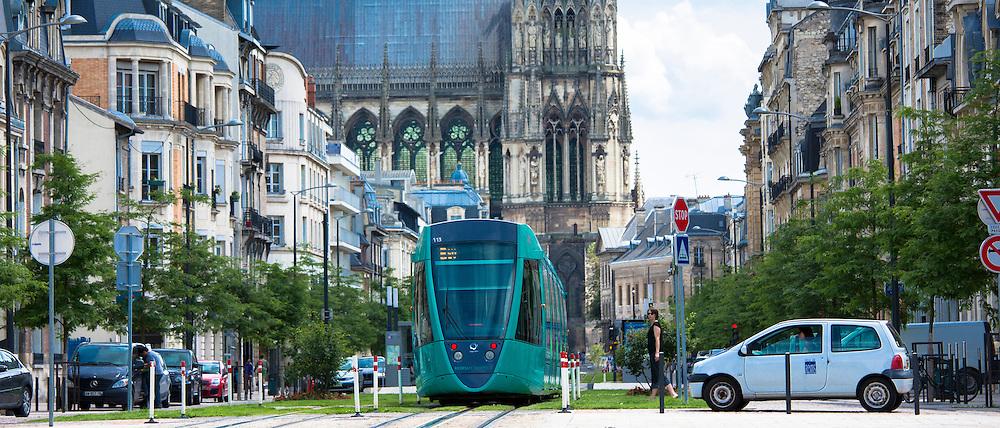 Modern tram in Cours de Jean-Baptiste Langlet in Reims, Champagne-Ardenne, France