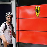 11.03.2020, Albert-Park, Melbourne, FORMULA 1 ROLEX AUSTRALIAN GRAND PRIX 2020<br />  , im Bild<br /> Sebastian Vettel (GER#5), Scuderia Ferrari Mission Winnow kommt mit dem Fahrrad in das Fahrerlager.<br /> <br /> Foto © nordphoto / Bratic