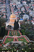Israel, Haifa, After two years of renovation the gilded dome roof of the Bahai Shrine of the Bab was unveiled April 12th 2011
