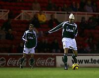 Photo: Andrew Unwin.<br /> Middlesbrough v Liteks Lovech. UEFA Cup. 15/12/2005.<br /> Liteks Lovech's Alejandro Enrique Cichero (R) on the ball.