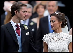 May 20, 2017 - London, London, United Kingdom - Image ©Licensed to i-Images Picture Agency. 20/05/2017. London, United Kingdom. Pippa Middleton wedding to James Matthews. ..The wedding of Pippa Middleton and James Matthews at St Mark's Church, Englefield, Berkshire,  Pictured are the Bride and Groom with their bridesmaids and pageboys in the foreground...Picture by  i-Images / Pool (Credit Image: © i-Images via ZUMA Press)