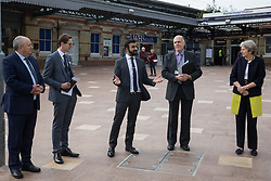 Maidenhead, UK. 11th October, 2021. Asim Zeb of Project Centre speaks on the occasion of the opening of a new Maidenhead station forecourt. The £3.75m refurbishment is intended to make the area around the station more commuter-friendly in anticipation of an increase in passengers when Crossrail opens and to improve both the interchange between trains and other forms of transport and walking and cycling links between the station and the town centre.