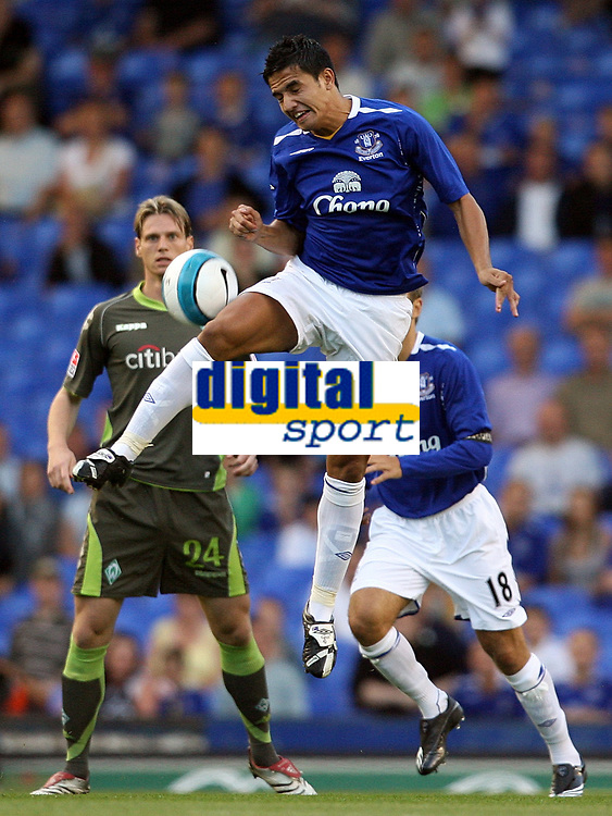 Photo: Paul Thomas.<br /> Everton v Werder Bremen. Pre Season Friendly. 31/07/2007.<br /> <br /> Tim Cahill of Everton jumps to win the ball.