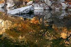 Stock photo of the shoreline reflection in the river in the Texas Hill Country