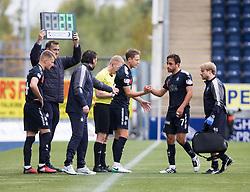 Falkirk's Tom Taiwo off injured. Falkirk 0 v 0 Inverness Caledonian Thistle, Scottish Championship game played 14/10/2017 at The Falkirk Stadium.