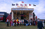 People queuing to see the Hell Riders Wall of Death show at Power of the Past event, Wantisden, Suffolk, England, UK c 2001