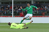 Luka Kacavenda of Bosnia and Herzegovina (1) saves from Adam Idah of Republic of Ireland (9) during the UEFA European Under 17 Championship 2018 match between Bosnia and Republic of Ireland at Stadion Bilino Polje, Zenica, Bosnia and Herzegovina on 11 May 2018. Picture by Mick Haynes.