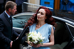 © Licensed to London News Pictures. 05/03/2016. London, UK. Elizabeth Jagger arriving at Rupert Murdoch and Jerry Hall's wedding ceremony at St Bride's Church in Fleet Street, London on Saturday, 5 March 2016. Photo credit: Tolga Akmen/LNP