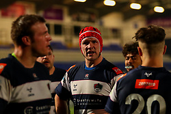 Ryan Burrows of Coventry Rugby talks to his team mates after conceding a try - Mandatory by-line: Nick Browning/JMP - 26/02/2021 - RUGBY - Butts Park Arena - Coventry, England - Coventry Rugby v Saracens - Friendly
