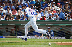 August 20, 2017 - Chicago, IL, USA - Chicago Cubs starting pitcher Kyle Hendricks (28) bunts for a base hit in the third inning against the Toronto Blue Jays on Sunday, Aug. 20, 2017 at Wrigley Field in Chicago, Ill. (Credit Image: © Brian Cassella/TNS via ZUMA Wire)
