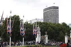 © Licensed to London News Pictures. 03/06/2019. London, UK. LGBT rainbow flags are flown from a tower block (R) in sight of Buckingham Palace during Donald Trump's State Visit to the United Kingdom. During his three days in the UK he will meet with members of the Royal family and outgoing Prime Minister Theresa May before attending 75th Anniversary of D-Day commemorations in Portsmouth and France. Photo credit: Peter Macdiarmid/LNP