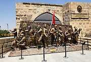 Turkey July 23 2011: Statues at the entrance to the Gaziantep Castle museum. Copyright 2011 Peter Horrell