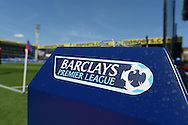 a view of the Barclays Premier League match ball stand on the touchline before k/o. Barclays Premier league match, Crystal Palace v Aston Villa at Selhurst Park in London on Saturday 22nd August 2015.<br /> pic by John Patrick Fletcher, Andrew Orchard sports photography.