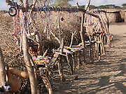 Maasai jewellery for sale at local village near to eco tourist camp, south-east Kenya, Kenya