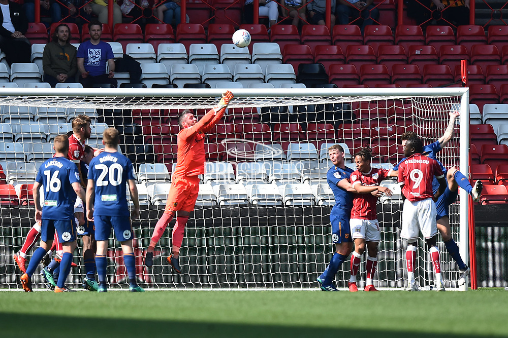 Allan McGregor (1) of Hull City punches clear during the EFL Sky Bet Championship match between Bristol City and Hull City at Ashton Gate, Bristol, England on 21 April 2018. Picture by Graham Hunt.