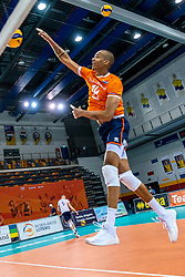 Nimir Abdelaziz of Netherlands in action during the CEV Eurovolley 2021 Qualifiers between Croatia and Netherlands at Topsporthall Omnisport on May 16, 2021 in Apeldoorn, Netherlands