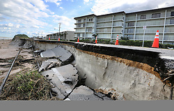 October 8, 2016 - Ormond-By-The-Sea, FL, USA - Erosion caused by high surf from Hurricane Matthew takes a chunk of A1A in Ormond-By-The-Sea, Fla., on Saturday, Oct. 8, 2016. (Credit Image: © Joe Burbank/TNS via ZUMA Wire)