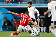 Russia Roman Zobnin (L) tackles Egypt Mohamed Salah (R) during the 2018 FIFA World Cup Russia, Group A football match between Russia and Egypt on June 19, 2018 at Saint Petersburg Stadium in Saint Petersburg, Russia - Photo Stanley Gontha / Pro Shots / ProSportsImages / DPPI