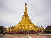 """02 NOVEMBER 2014 - TWANTE, YANGON DIVISION, MYANMAR:   Shwe Sandaw Pagoda in Twante about 20 miles from Yangon. It's one of four pagodas in Myanmar called """"Shwe Sandaw Pagoda."""" According to local legend the pagoda was built in 118BE (approximately 400 BCE). The pagoda is believed to house hairs of the Buddha.        PHOTO BY JACK KURTZ"""