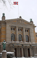 National Theater and Ibsen. Winter in Oslo Norway