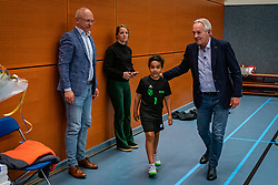 Ready for the first serve Luca Ratterman during the Olaf Ratterman Memorial match between Netherlands vs. Eredivisie All Star team on May 03, 2021 in Barneveld.